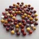 Mookaite gemstone bead 925 sterling silver long necklace jewelry