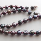 Garnet & black freshwater cultured pearl necklace .. 925 sterling silver jewelry