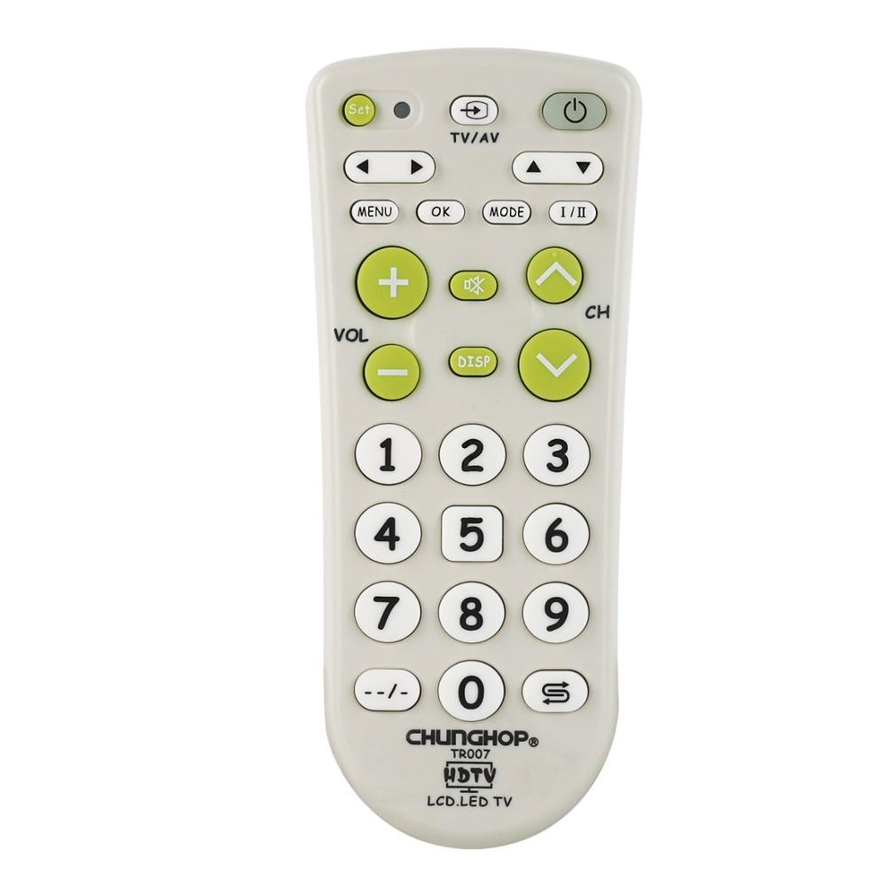 Universal Infrared IR TV Set Remote Control Compatible tr007 Large Buttons Big Keys