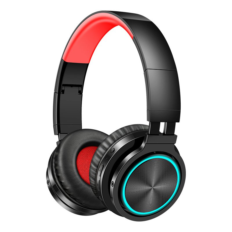 Picun B12 Foldable bluetooth 5.0 Headphone RGB Light Strong Bass Volume Control Headset With Mic for