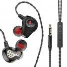 [Dual Dynamic Drivers] HiFi 4 Drivers Earphone Sports 3.5mm Wired In-ear Stereo Headphone with Mic