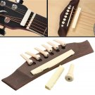 1 Set Professional Guitar Kit Acoustic Guitar Bridge with Bone Pins Saddle Nut