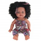 12Inch Soft Silicone Vinyl PVC Black Baby Fashion Play Doll Rotate 360 African Girl Perfect Reborn D