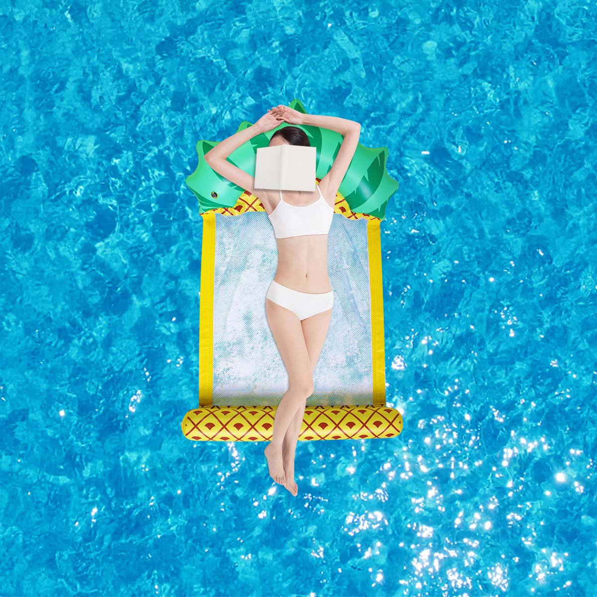 138*79CM Summer Foldable Pineapple Water Hammock Swimming Pool Inflatable Cushion Floating Lounge Ch