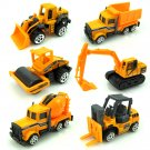24 PCS 1:64 Alloy Engineering Truck Excavator Forklift with Road Sign Minifigure Diecast Model Set T