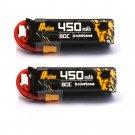 2PCS Auline 15.2V 450mAh 80C 4S HV Lipo Battery XT30 Plug for Betafpv X-Knight HD 3inch Toothpick FP