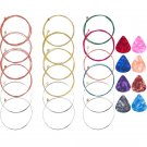 3 Sets Guitar Strings With Guitar Picks Wooden Folk Guitar Strings (a Set Of Red Copper Brass Color)