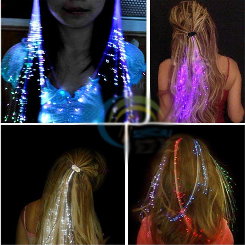 4PCS Flash LED Hair Braid 40CM Decoration Toys Christmas Party Fiber Extension Barrette