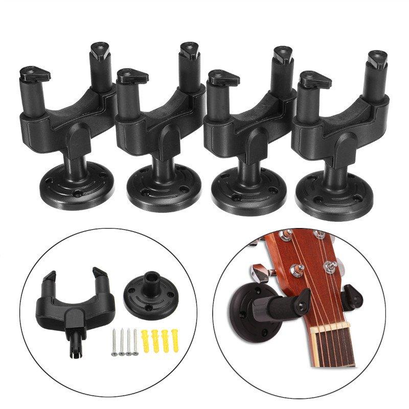 4Pcs Guitar Ukulele Bass Wall Mount Hanger Stand Holder Hooks Display Acoustic Electric Bass