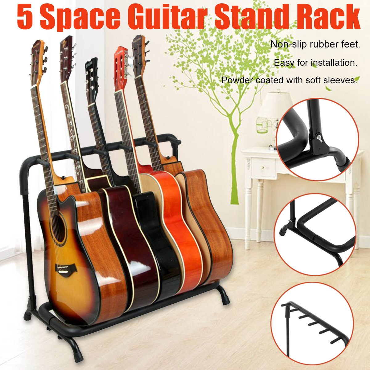 5 Way Multi Guitar Display Black Rack Stand Padded Electric Acoustic Bass Holder