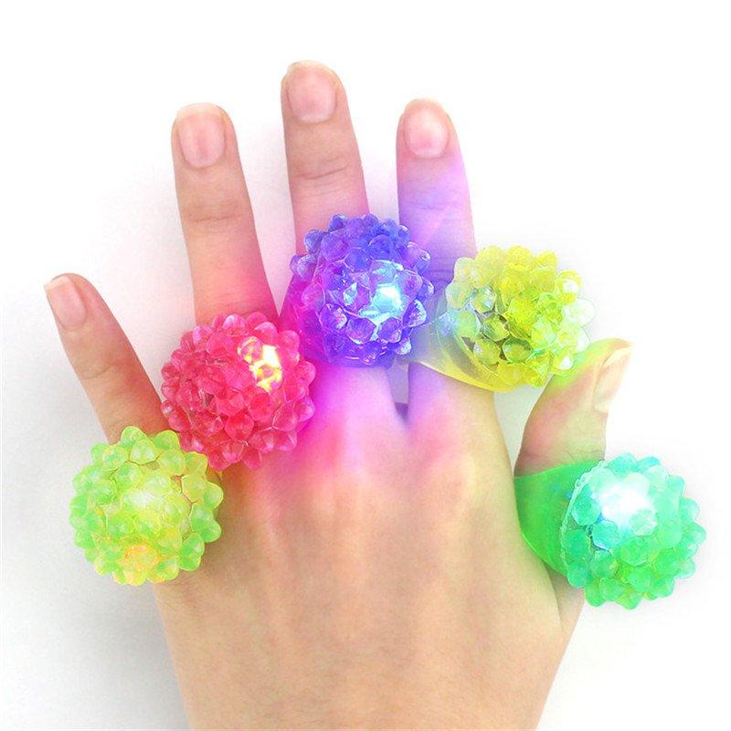 5PCS LED Flashing Elastic Rubber Blinking Strawberry Finger Ring Decoration Toys