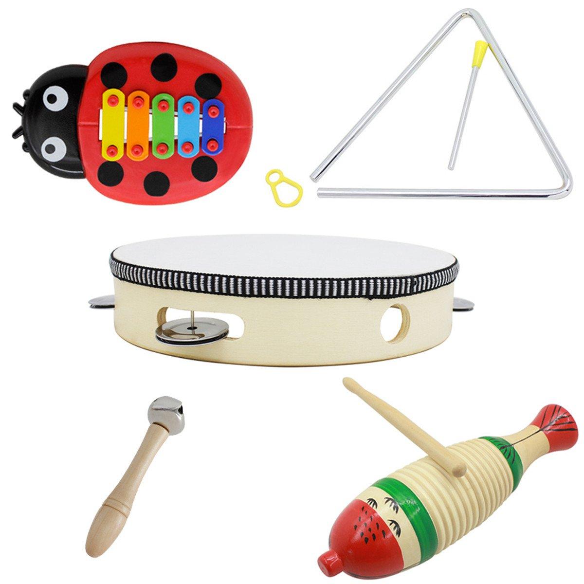 5-Piece Set Orff Musical Instruments Fish Frog/Hand Tambourine/Single Bar Bell/Music Triangle Iron/B