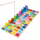 6 IN 1 Wooden Numbers Graphics Fishing Game Letter Multi-function Matching Board Early Learning Educ