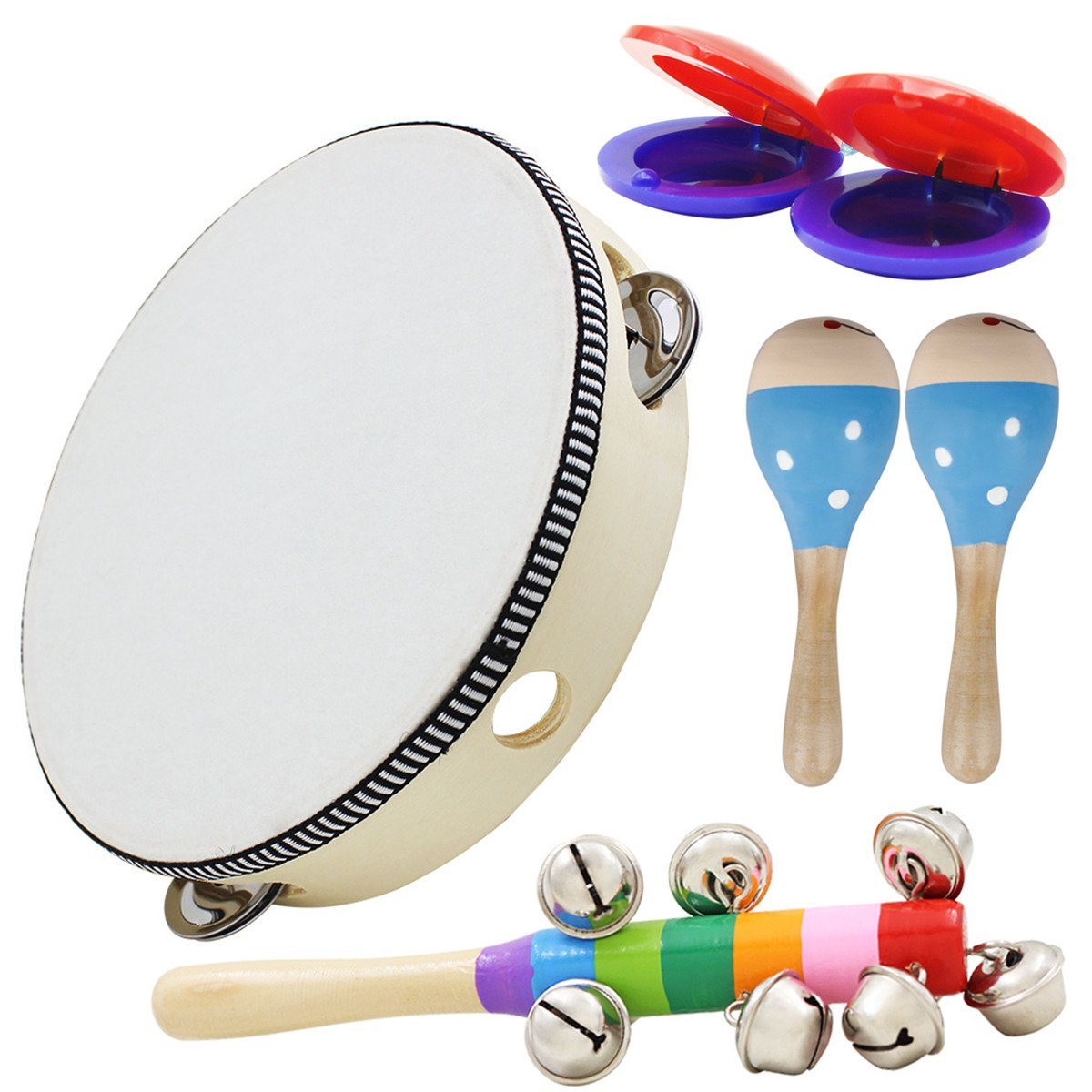 6 Piece Set Orff Musical Instruments Hand Shake Rattle Castanets Sand Hammer Vertical Bell Education
