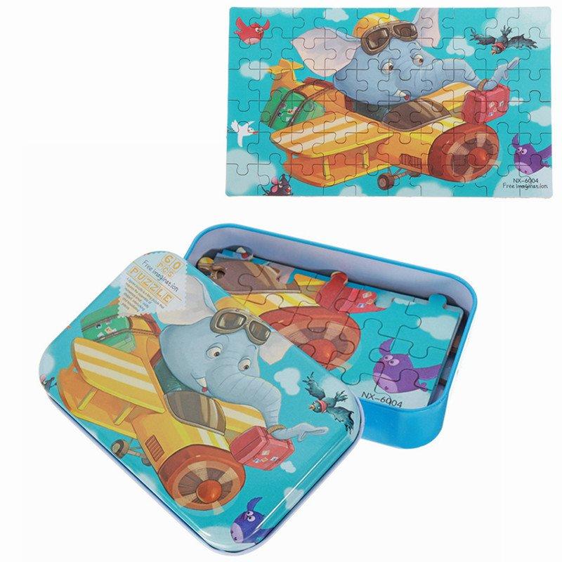 60pcs DIY Puzzle Elephant Pilot Plane Cartoon Jigsaw With Tin Box Kids Children Educational Gift Toy