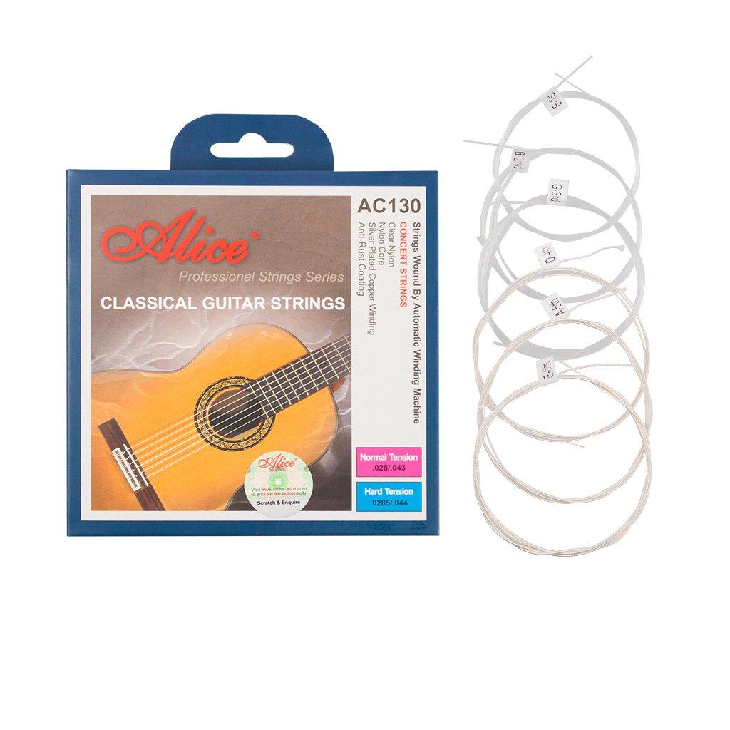 Alices AC130-H 6pcs/set Nylon Classical Guitar Strings (.0285-.044) Hard Tension