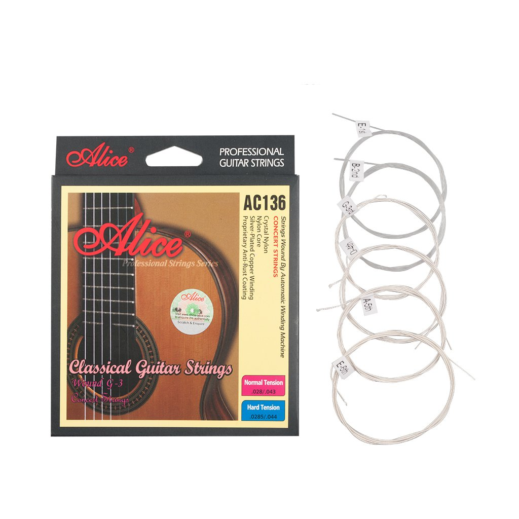 Alices AC136-N Classical Guitar Strings Crystal Nylon Strings Silver-Plated Copper Wound 6 Strings