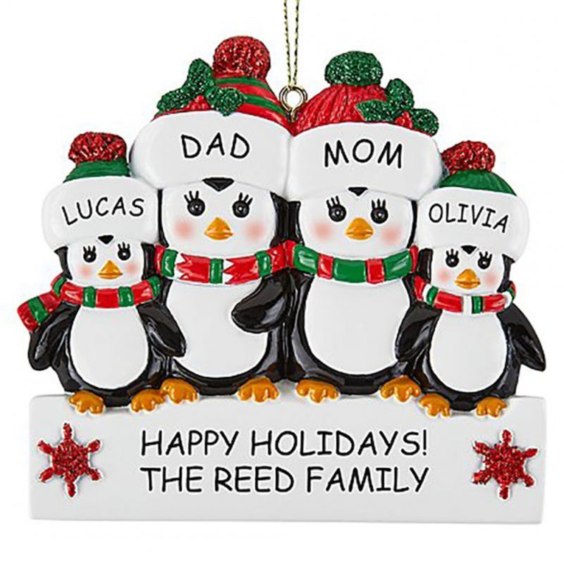 Christmas Decoration Penguin Hanging Ornament Pendant for DIY Name Family Blessings Four penguins
