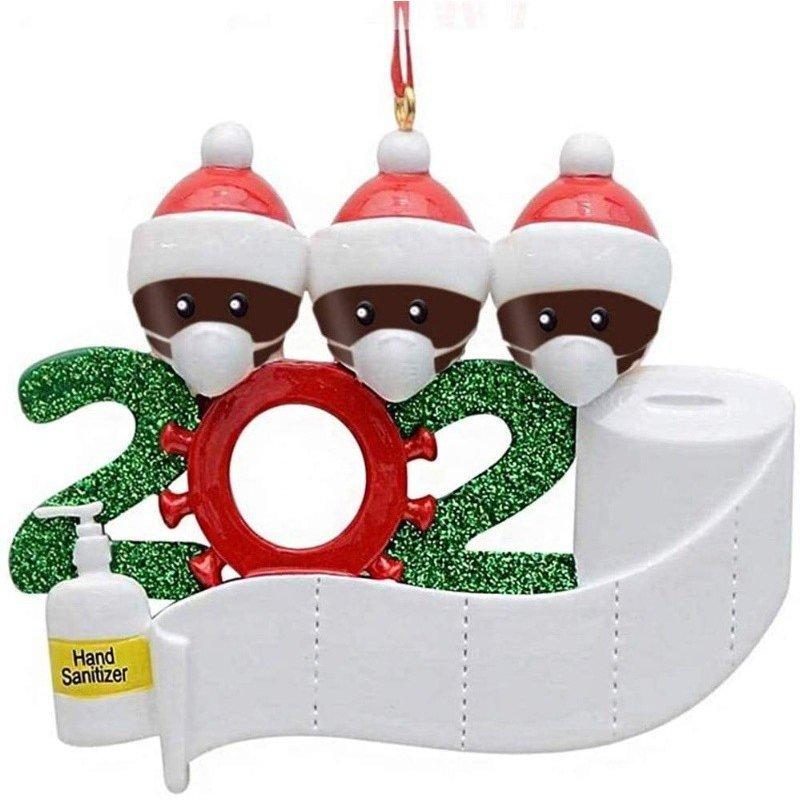 Christmas Ornament Kit DIYName Blessing Hanging Pendant Gift Black family of 3