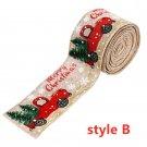 Imitation Hemp Ribbon Car Tree Printing Christmas Decoration Ribbon Roll for Gift Packing Hemp color