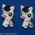 Set of 2 Littlest Pet Shop Baby Zebra Croc Shoe Charms