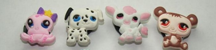 Set of 4 Littlest Pet Shop Croc Shoe Charms Octopus, Dalmation, Cow and Bear