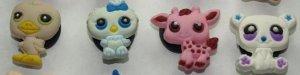 Set of 4 Littlest Pet Shop Croc Shoe Charms Duck, Owl, Giraffe, and Polar Bear