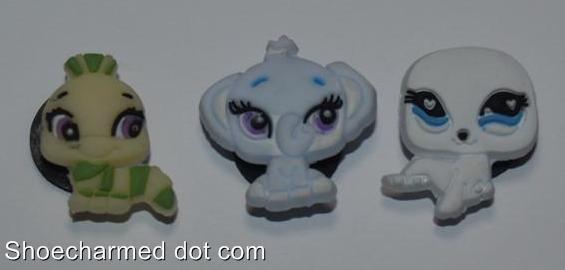 Set of 3 Littlest Pet Shop Croc Shoe Charms Caterpillar, Elephant, Seal
