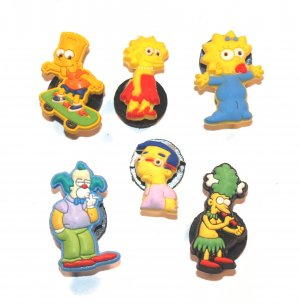 Set of 6 Simpsons Croc Shoe Charms Bart, Lisa, Maggie, Krusty,Millhouse