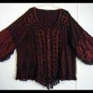 Women's Plus Size Red Gothic Renaissance Peasant Blouse Size 5X