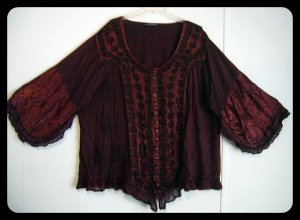 Women's Plus Size Red Gothic Renaissance Peasant Blouse Size 5X