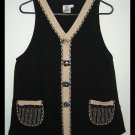 Women's Earthy Artsy Black Tan Cotton Vest Size Small