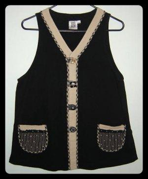 Women's Earthy Artsy Black Tan Cotton Vest Size Small