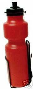 28 ounce Water Bottle and Cage for bicycle, RED bottle .... S&H is $3.95 or $1.95