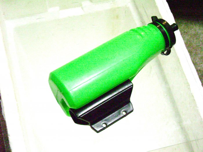 Water Bottle and Frame mount Holder  for bicycle, Green bottle .... S&H is $2.75 or $1.35