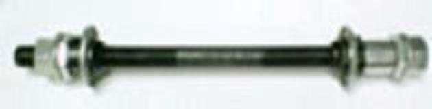 """Axle Set for bicycle.  For rear wheel that has a freewheel. 3/8"""" diameter axle"""