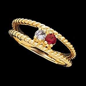 Rd4196-2h Ladies 2 Stone Mom Rg Synthetic Stones Your Choice Colors