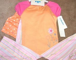 Girls CARTERS 3pc Peach Pink Flower Pajamas 4 NWT NEW