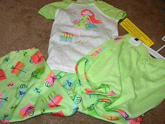 Girls CARTERS Green Shopping Diva 3-pc Pajamas 4 NWT