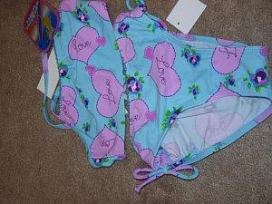 BREAKING WAVES Aqua Purple Tankini Swimsuit 6X NWT