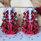 Carved candles home decor, Handmade carved candle, Art design gift, Handcarved Red White
