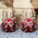 Carved candles christmas gift, Handmade carved candle, Art design set, Handcarved cream burgundy