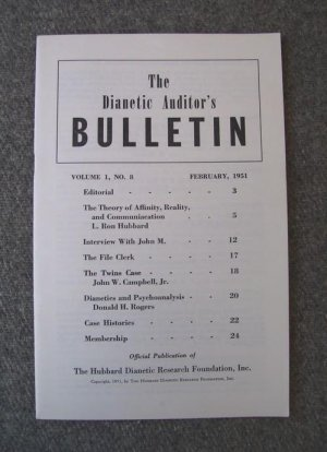 Vol 1 No 8 Hubbard Feb 1951 Scientology Dianetics Auditors Bulletin Booklet Pamphlet