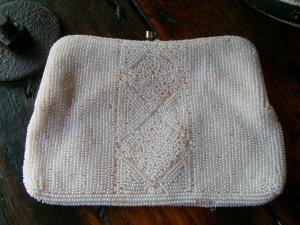 Vintage Micro Bead Beaded Clutch Evening Bag Purse 1940s Cream