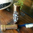 Jeweled Goldtone Travel Toothbrush Tube 1920 to 1940s Vintage Extremely Rare Art Nouveau Deco