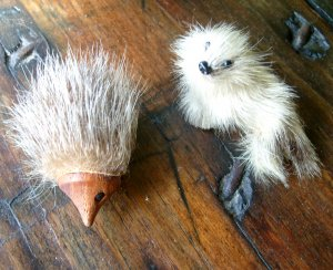 2 Vintage Souvenir Baby Seal Plus HedgeHog Hedge Hog Real Fur Pin Pins Pinback Pinbacks