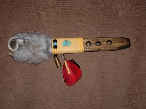 Native American Fur Leather Ceremonial Short Peace Pipe