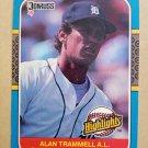 1987 Donruss Highlights #51 Alan Trammell Detroit Tigers
