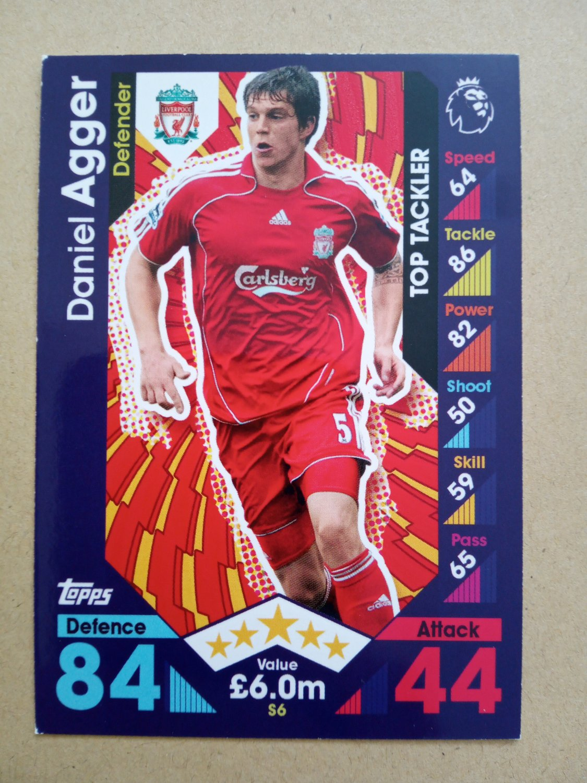 2016-17 Topps Match Attax Premier League - Legends #S6 Daniel Agger Liverpool Top Tackler