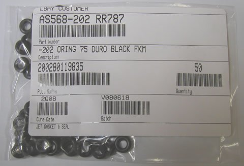 "VITON O-RINGS 204 SIZE BAG OF 20 3/8"" ID X 5/8"" OD"